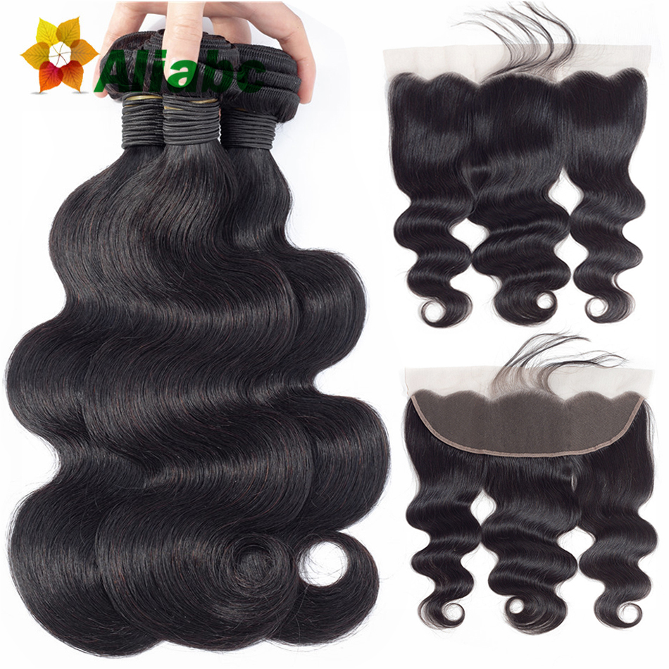 Aliabc Brazilian Body Wave Hair Weave 3 Bundles With Lace Frontal Closure Non Remy Natural Color