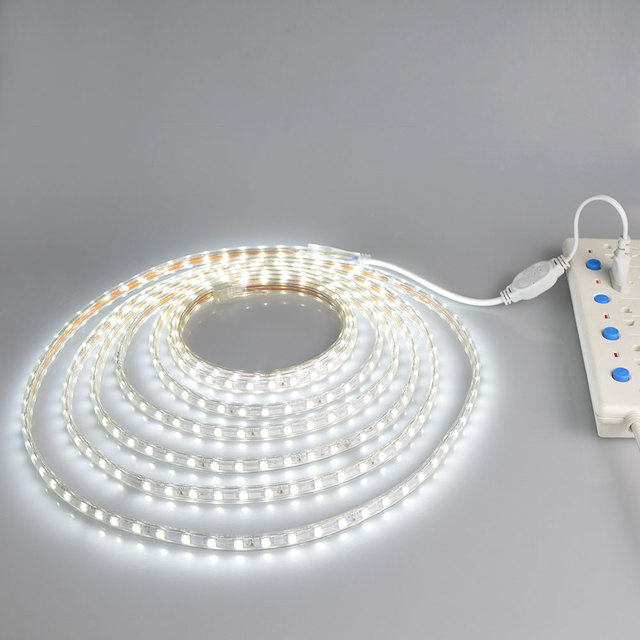 EU plug Waterproof led kitchen lamp 220V wardrobe cabinet light closet cupboard lighting bedroom lamp 5M  10M 15M 20M 25M