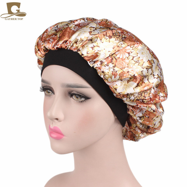 35768ecbbae New Luxury Wide Band Satin Bonnet Cap comfortable night sleep hat hair loss  cap turbante hair accessories