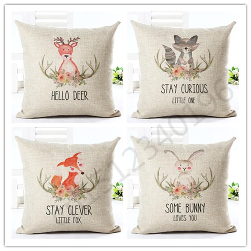 2016 45x45 New Arrival Cartoon Style Fox Home Decor Chair Cushion Throw Pillow Cojines Almofadas Cotton
