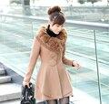 New 2016 Winter Fur Collar Woolen Coat Wool Windbreaker Women Cashmere Coat Winter Jacket Women Female Plus size overcoat