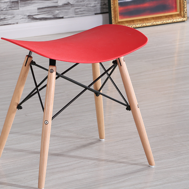 Minimalist Modern Design Plastic And Wood Dining Stool Chair Shoes Changing  Stool Makeup Stool Ottomans Stool