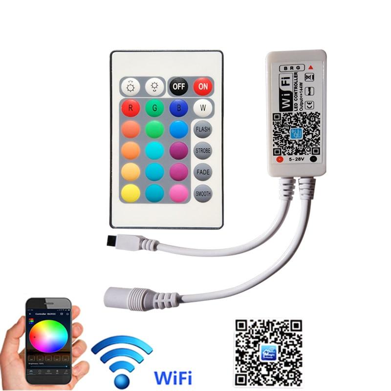 24Keys WiFi RGB Controller DC 5V-12V 24V Mini WiFi Wireless Phone IOS Android APP Remote For SMD 3528 5050 LED Strip