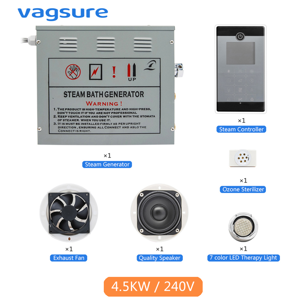 AC 220V CE Certified Remote Controlled 4.5KW Home Use Steam Control Pad Sauna Spa Bath Metal Generator For Bathroom Shower 3kw ce rohs certified steam bath generator for steam room