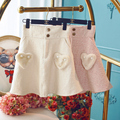 Princess sweet lolita skirt autumn winter  tall waist cloth bust sweet cute plush hearts the a-line skirt thickness UF23
