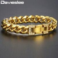 Davieslee Curb Cuban Link Bracelets For Men Boy Gold Tone 316L Stainless Steel CZ Men Woman Bracelet 2018 Jewelry 12mm HB500