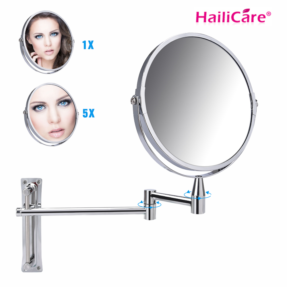 Double Side 7 Round Wall Mirror 1x 5x Magnification Makeup Mirror Adjustable Bathroom Rotating Mirror 360
