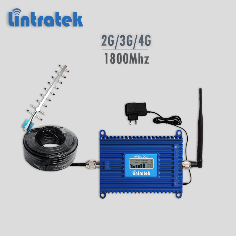 Lintratek 70dBi 4G signal repeater 1800Mhz DCS gsm umts lte signal booster 3g 2g cellphone amplifier LCD display full kit #9