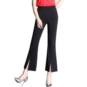 {Guoran} kobiet w połowie talii Slim Fit spodnie Flare stałe, elastyczne Bell Bottom spodnie Flare wysokiej low Cut hem szerokie nogawki spodnie