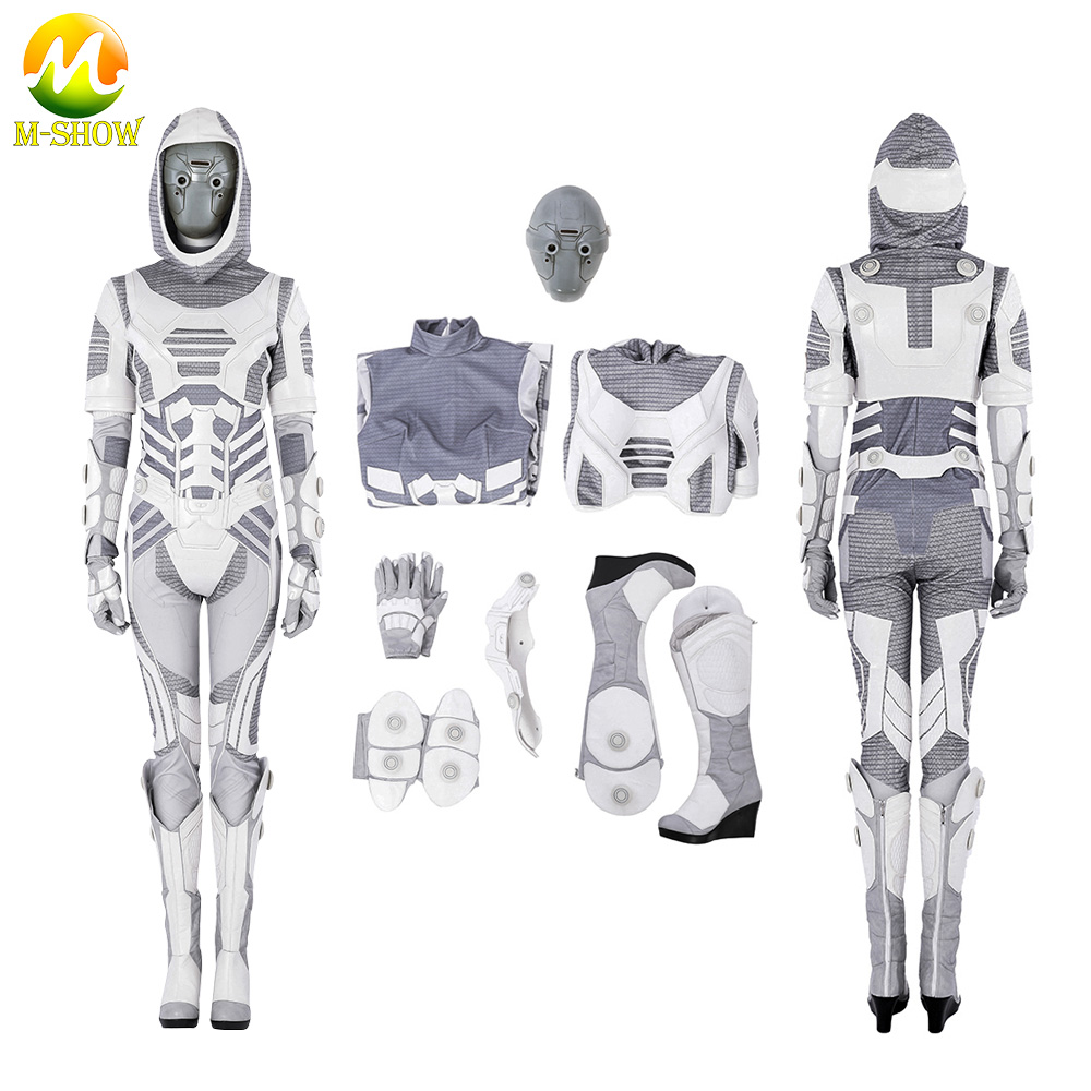 Ant-Man and the Wasp Ava Ghost Cosplay Costume Custom Made Halloween movie fan theme play party white leather suit