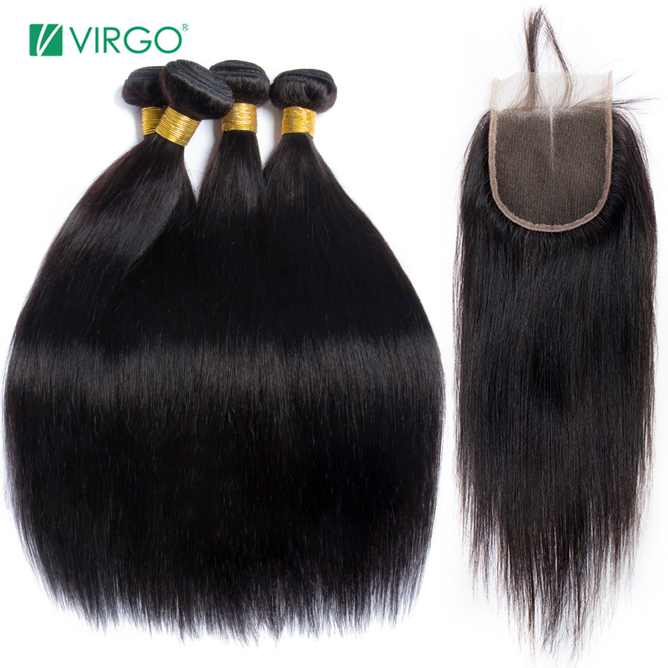 Alipearl Hair Straight Human Hair 3 Bundles With 5x5 Closure Brazilian Hair Weave Bundles Natural Color Remy Hair Extension Complete In Specifications Hair Extensions & Wigs Human Hair Weaves