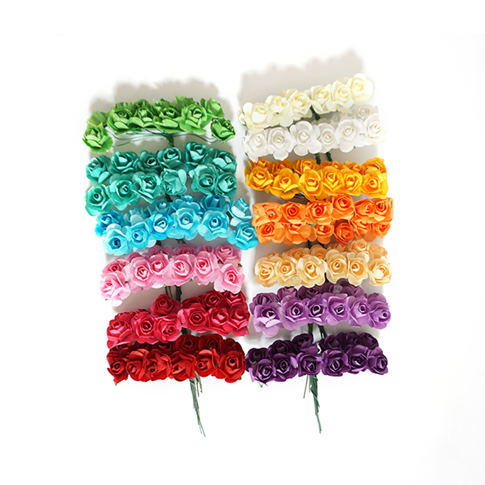 12Pcs/Bunch Artificial Paper Flowers for Wedding Car Fake Roses Used For Candy Box DIY Wreath Handmade Decoration
