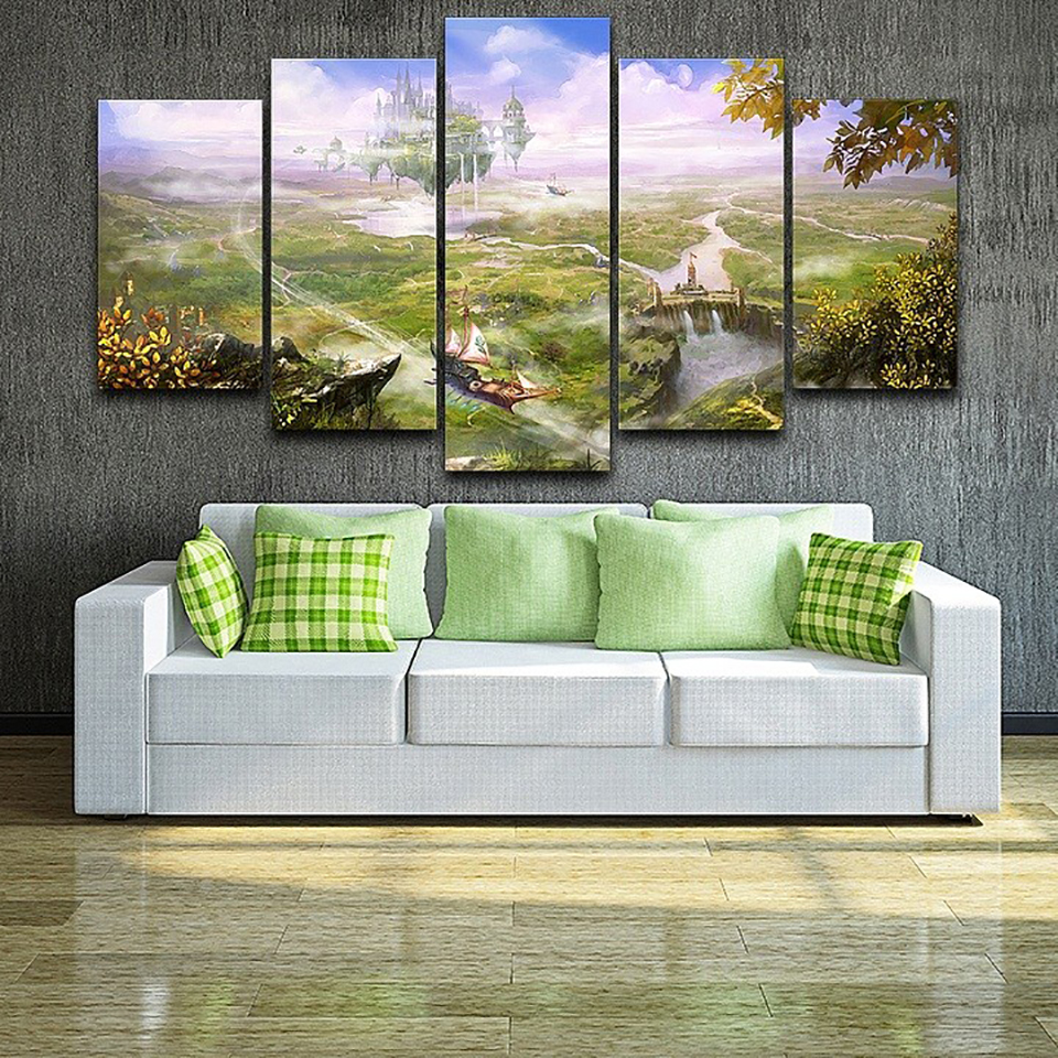 Home Decor Living Room Canvas Modular Pictures 5 Panel Beautiful Nature Landscape Framed Wall