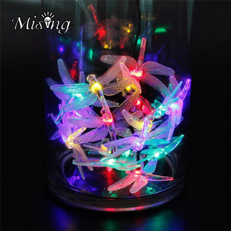 Mising 20 LED 2.5M Dragonfly Colorful String Lights Solar Powered Night Light Outdoor Garden Wedding Home Decoration Solar Lamp