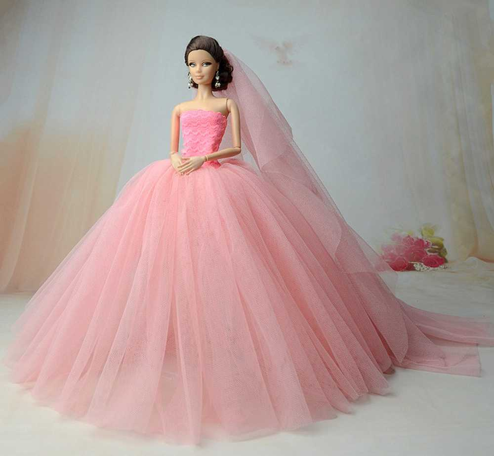 Doll Dresses High quality Handmade Long Tail Evening Gown Clothes Lace Wedding Dress +Veil For Barbie Doll 1:6 Doll Accessories