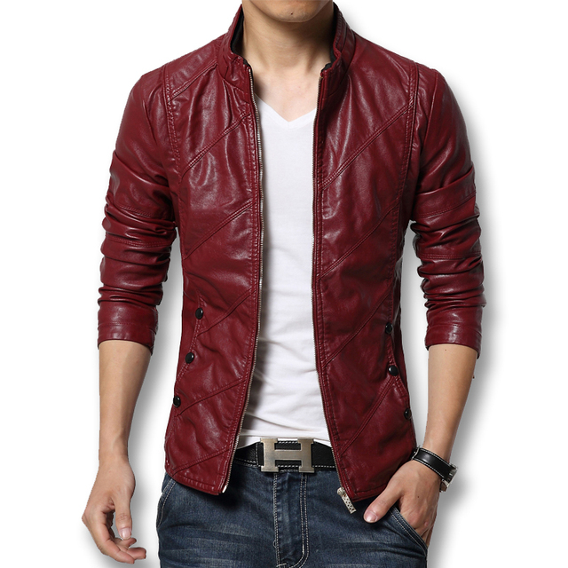 2017 Autumn Winter Faux Leather Jacket Men Red Slim Fit Men's Outfit Bomber Jackets Stand Collar Mens Motorcycle Jackets Coats