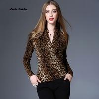 1pcs Ladies Plus Size Blouses Tops 2018 Summer Knitting Velvet Mosaic Leopard Primer Shirt Women S