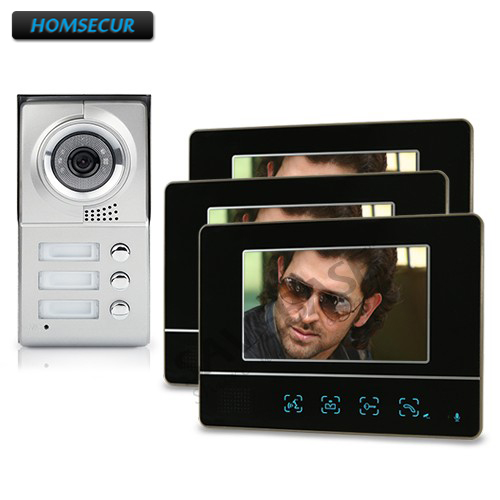 HOMSECUR Apartment Video Handsfree Intercom System 3Pcs 7 Monitors 1 Camera Night Vision
