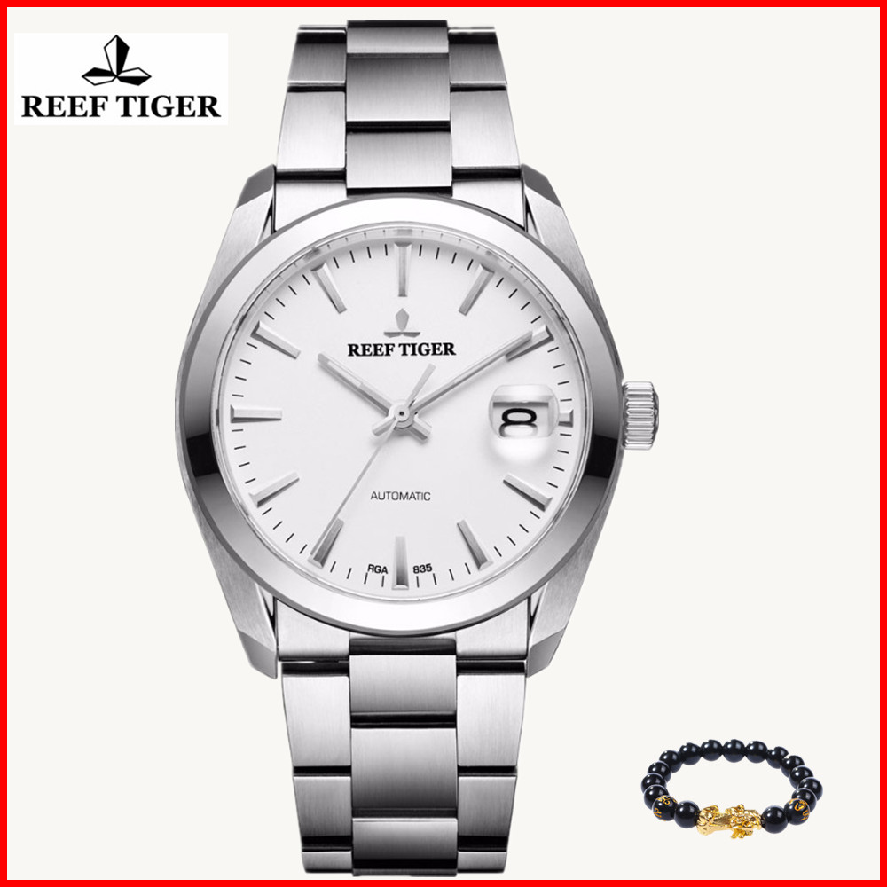 2019 Reef Tiger Fashion Generous Dress Watch Simple Men Big Date Stainless Steel Automatic Business Casual