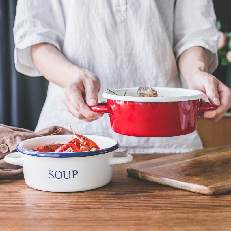 Japanese style porcelain enamel stew pot cream pudding baking high temperature oven special baking bowl pan ovenware bakeware
