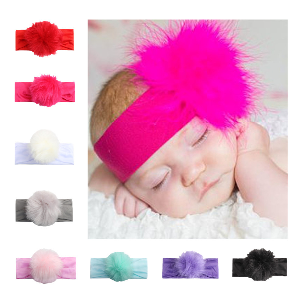 Cute Girls Ribbon Elastic Baby Headdress Kids Hair Band Girl Bow Pom Pom Ball Headband