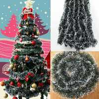 10pcs Pack Christmas Decoration Bar Ribbon Garland Christmas Tree Ornaments White Dark Green Cane Tinsel Party