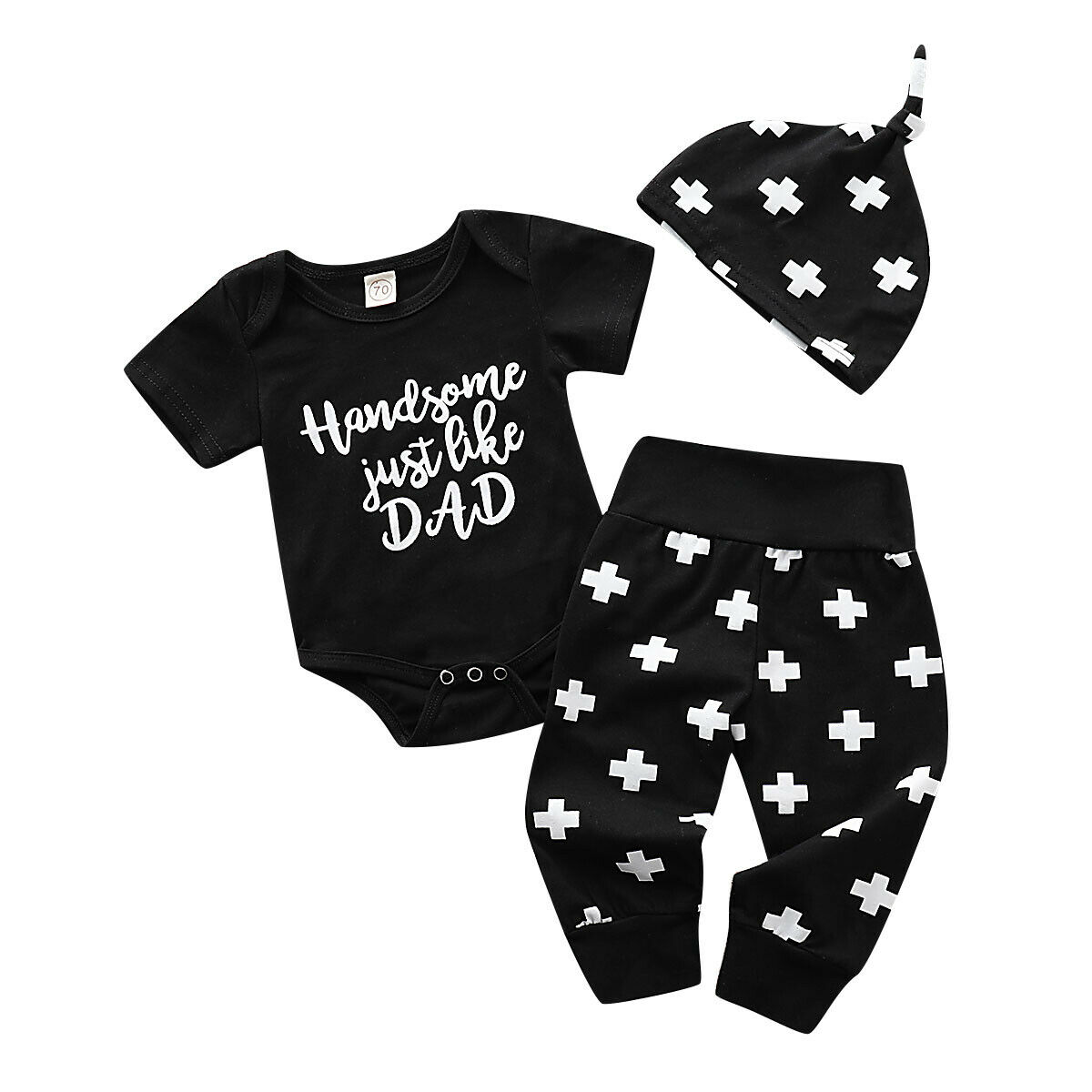 3PCS Set Newborn Baby Boy Girl Short Sleeve Letter Print Cotton Bodysuit Tops Cross Print Long Pant Hat Outfits Baby Clothes