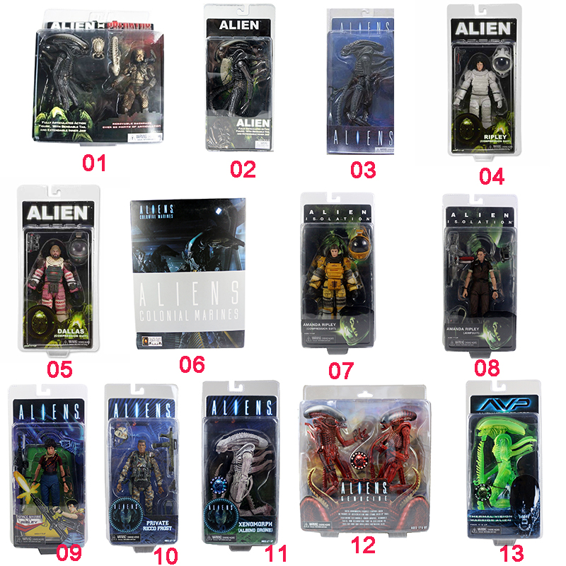 Hot Multi Designs NECA predator & Alien Aliens PVC Action Figures Free Shipping neca figures out of this world alien acehugger