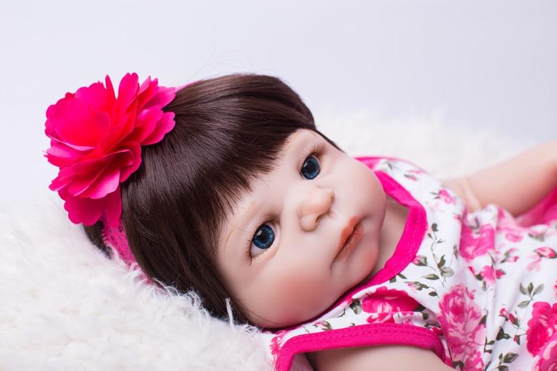 Full Body Silicone Reborn Baby Doll Leker Livlig 55cm Nyfødt Jente - Dukker og tilbehør - Bilde 3
