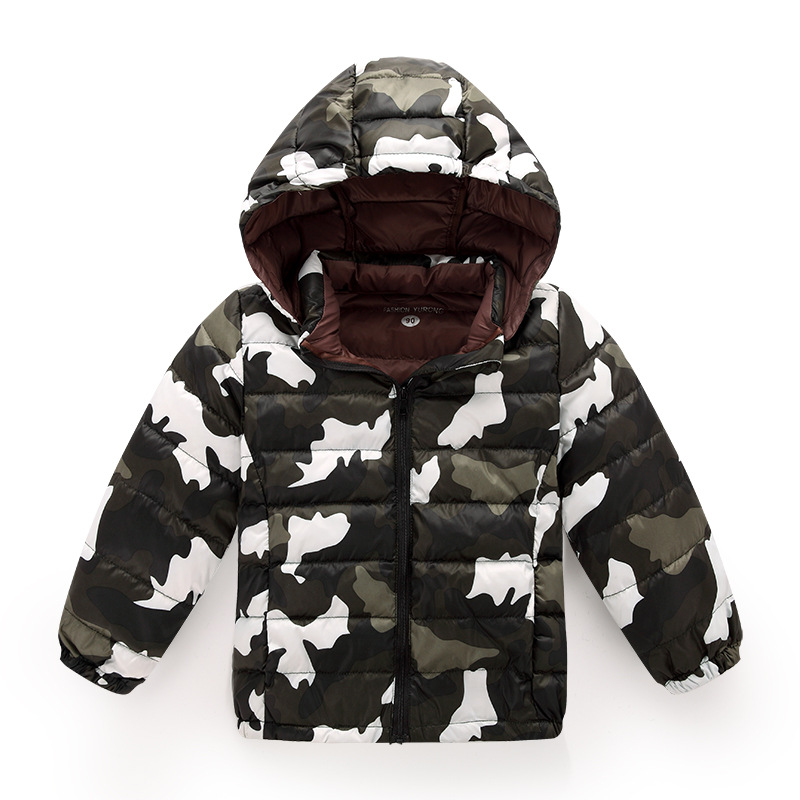 New Hot 2016 Casual Children Parka boys Winter Coat Long Duck Down Thick Hooded Camouflage Pattern