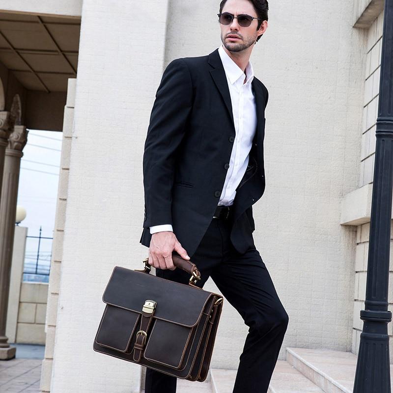 "HTB1uc0cihTpK1RjSZFKq6y2wXXan Vintage Men's Genuine Leather briefcase 16"" Cowhide Business bag Cow leather Laptop Double Layer messenger bag PC work tote"