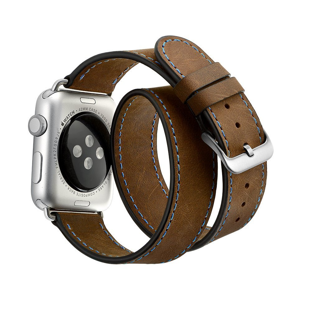 Wrist Bracelet For Apple Watch 4 Luxury Genuine Leather Double Tour Watch Band Straps For Apple Watch Series 1 2 3 Watchbands цена