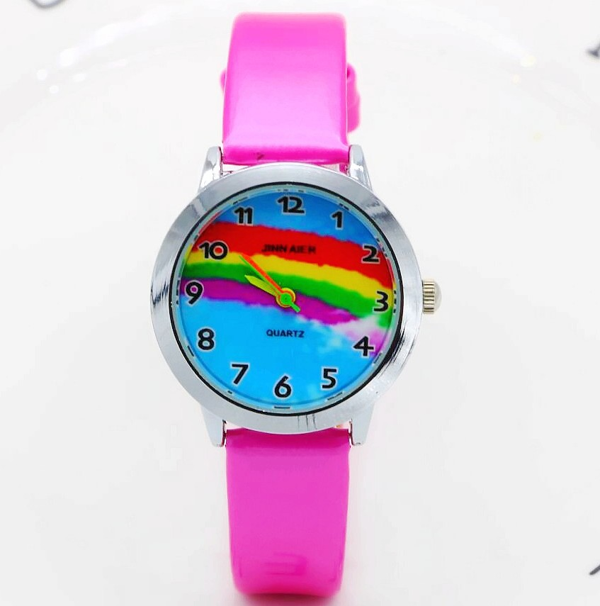 Cartoon colours of the rainbow Smiling face gift quartz watches for children promotion gift leather wristwatches sports watches