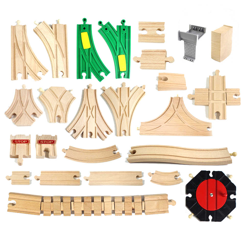 Wooden Railway Track Toy Universal Accessories Competible for Thomas All Brands Track Educational Rail Train Car Toys for Kids
