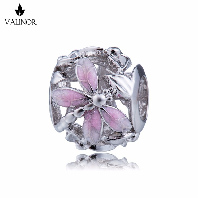 Pink dragonfly style beads  925 Sterling Silver beads charms fit Bracelets Never change color DDBJ018 F