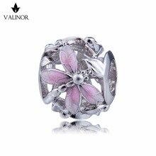 Rosa libelle stil perlen 925 Sterling Silber perlen charms fit Armbänder Nie ändern farbe DDBJ018 F