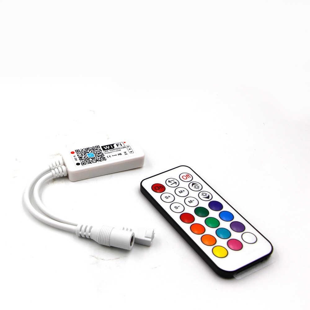 LED Bluetooth WiFi RGB פיקסל בקר מיני DC12V עם 24Key IR 21Key RF שלט רחוק עבור SMD 5050 RGB RGBW WS2812 LED רצועת