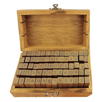 None 70PCS Vintage Wooden Rubber Set Alphabet Letter Number Punctuation Stamps Stamper For DIY Card Diary