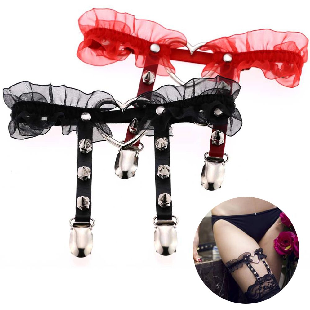 1pc Women Sexy Adjustable Lingerie Harajuku Pu Leather Punk Leather Garters Lace Leg Ring Garter Belt Suspenders Women's Intimates Garters