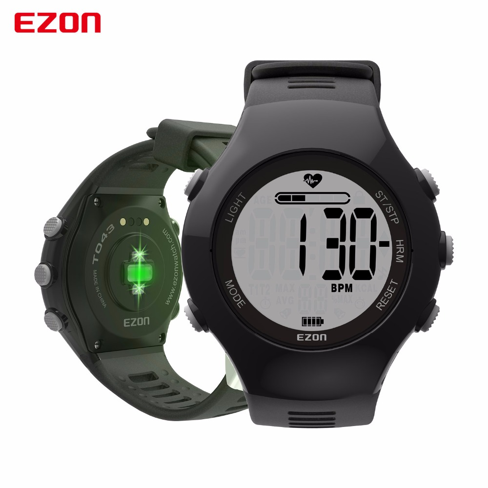 EZON T043 Men Women Sports Digital Watch Optical Sensor Heart Rate Monitor Chronograph Pedometer Calorie Counter Outdoor Running 10color digital lcd pedometer run step walking distance calorie counter men women watch bracelet watch reloj hombre montre femme