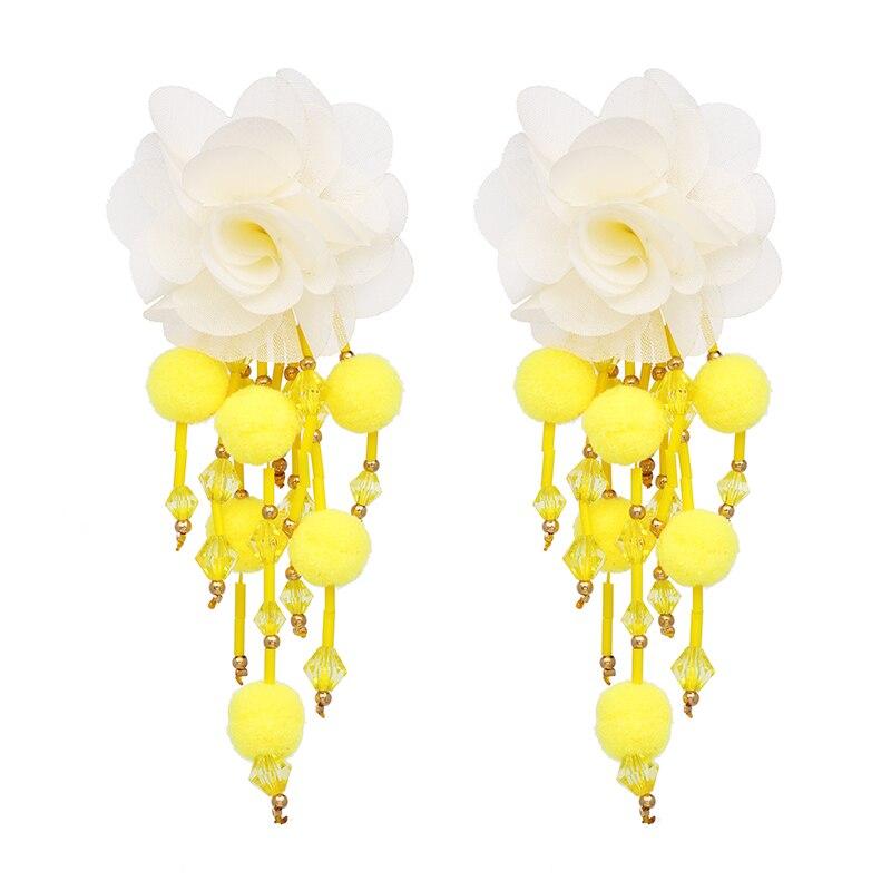 JUJIA Bohemian Long Flower Earrings Pom Pom Big Statement Earrings Fringe Drop Earrings Women Jewelry 14