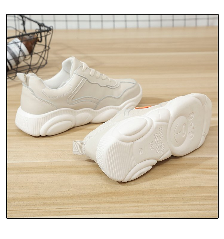Gruesa 2019 Suela Al Color Mujer blanco Zapatos Cómodos Beige Deportes Planos Salvaje Libre De Aire Harajuku Simples Sólido rr4wnqfEH