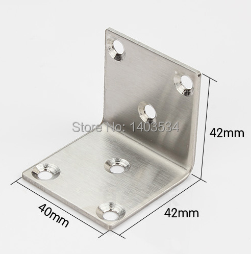 One Pair 42*42*40mm stainless steel angle bracket satin finish frame board support 42