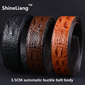 Width 3.5CM Men's automatic belt body Crocodile lines Leather luxury Designer high quality Black Brown Coffee No buckle Business