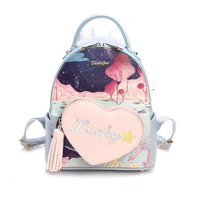 Floral Printing Backpack Preppy Style School Backpack Pu Leather Fashion Women Shoulder Bag For Teens Girls