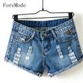 Foremode moda relaxado fina grande código buraco shorts jeans calças