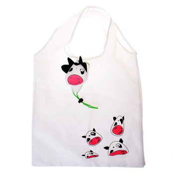 1 Pc Milk Cow Animal Shaped shopping bag Eco-friendly folding reusable Portable Shoulder handle Bag Polyester for Travel Grocery Shopping Bags