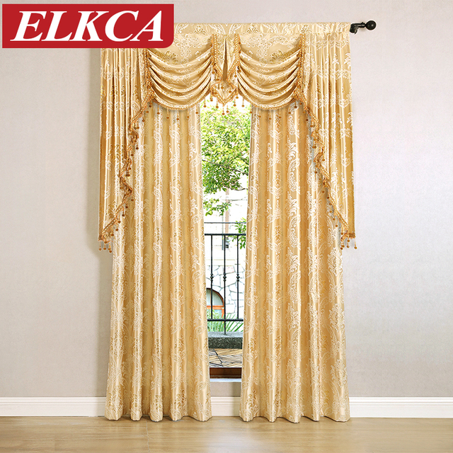 Jacquard Window Curtains For Living Room Luxury Royal Curtains For