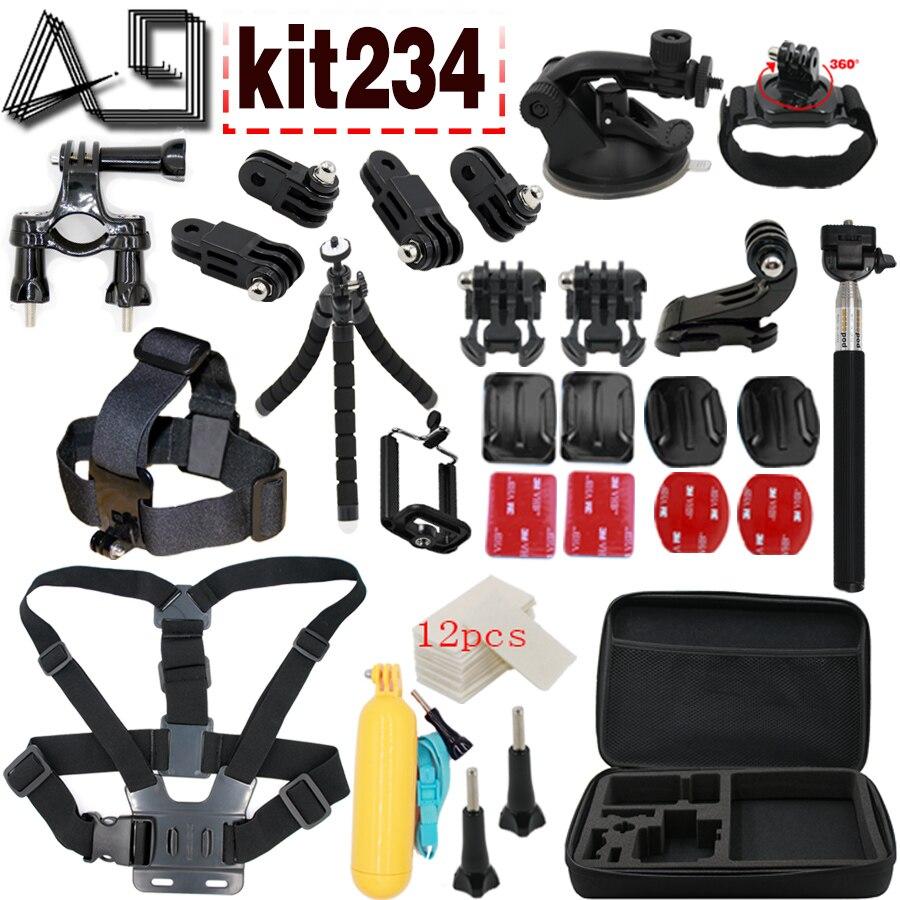 A9 pour Gopro accessoires Set Floaty poitrine ceinture tête de montage sangle pour Go pro hero 3 hero 4 session 3 + xiaomi yi SJ4000 SJCAM