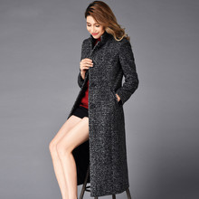 Europe and America Fashion 2015 Winter Long Wool Coat Stand Collar Plus Size Women's Outwear Wool Overcoat Female Jacket Coat